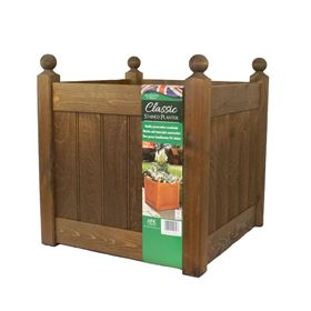 18'' Classic Chestnut Stain Wooden Planter Trough with Plastic Liner