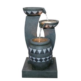 Mozaic Grey Bowls Water Feature with Lights