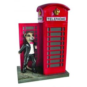 Meerkat with Red British Phone Box Ornament