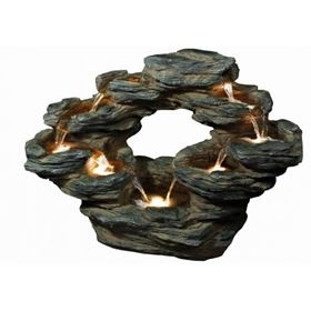 9 Fall Oval Slate Rockfall Lit Water Feature with LED Lights