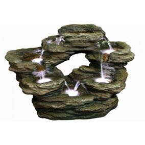 7 Fall Oval Rockfall Lit Water Feature