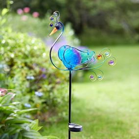 Blue Peacock Garden Stake Light