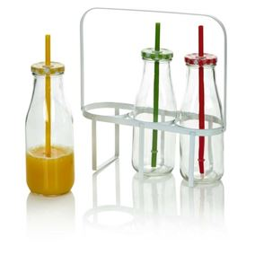 Set of Three Milk Bottles with Straws and Carry Case