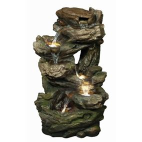 Medium 6 Fall Woodland Water Feature with LED Lights