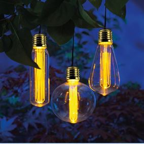 3 Retro Bulb Outdoor Solar Powered Garden Light String