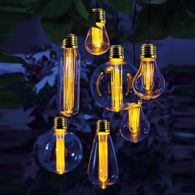 Set of 7 Retro Vintage Solar Powered Garden Light Bulbs