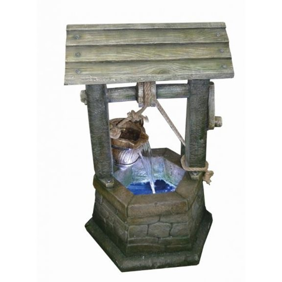 Medium Stone Wishing Well Lit Water Feature