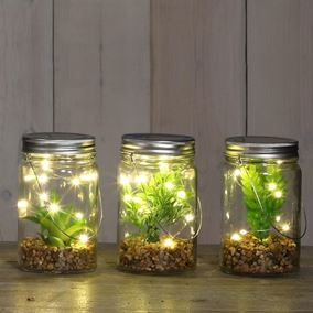 Artificial plants in Glass Jar (Triple Pack)