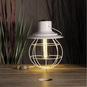 White Cage Hanging & Standing Lantern With Bulb