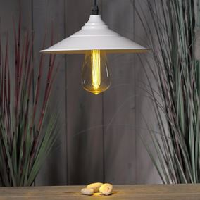 White Hanging Metal Saucer Lantern With Bulb
