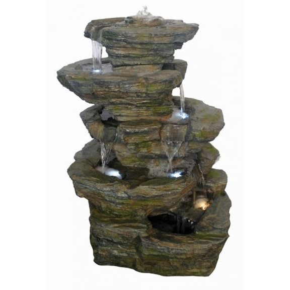6 Fall Slate Rockfall Water Feature with LED Lights