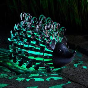 Metal Hedgehog Silhouette Solar Light