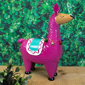 Llama Rama Pink Colourful Character Garden Ornament