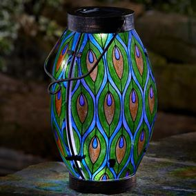 Peacock Design Oval Solar Lantern Garden Light