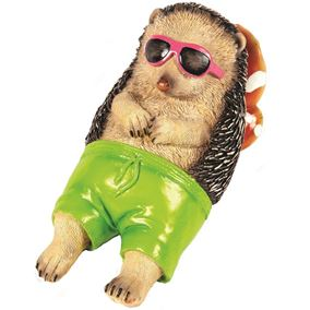 Sunbathing Chilling Garden Hedgehog Ornament in Green Shorts