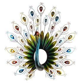 Colourful Amazon Peacock Metal Garden Wall Art