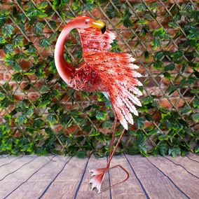 Wild Jungle Dancing Pink Flamingo Metal Garden Ornament with Solar Powered LED Lights