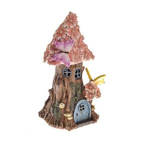 Secret Garden Small Round Solar Powered Fairy House With Pink Petals
