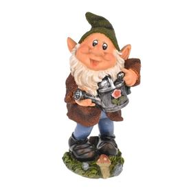 Joyful Gnome Holding Watering Can