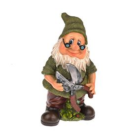 Joyful Gnome Holding Garden Scissors