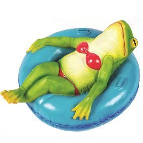 Floating Funky Frog in Pink Bikini and Rubber Ring Garden Ornament