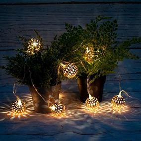 10 Rose Gold Sphere Solar Powered Outdoor String Lights