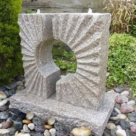 Eclipse Sun Fountain Beige Granite Water Feature Kit