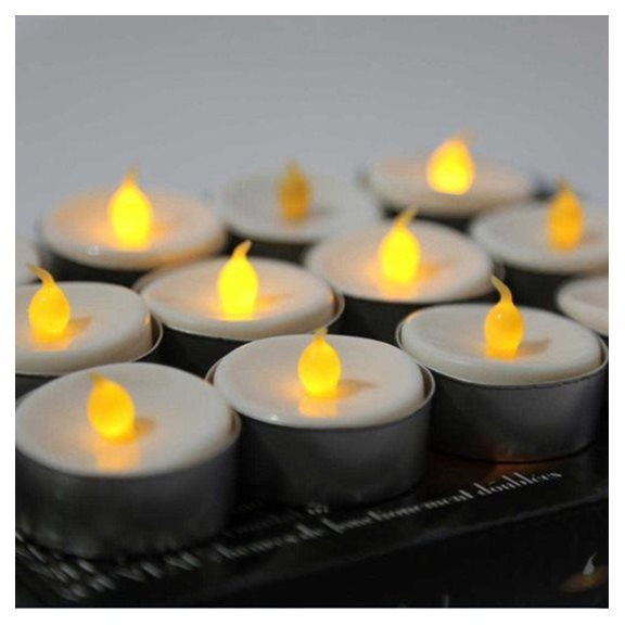 Flickering Tea Light Halloween Candles 12 Pack
