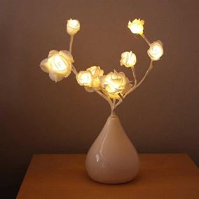 White Rose Vase with Warm White LED's