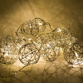 Set of 20 Silver Rattan Ball String Indoor Lights