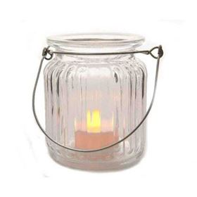 Large LED Halloween Glass Jar with Candle and Timer Function