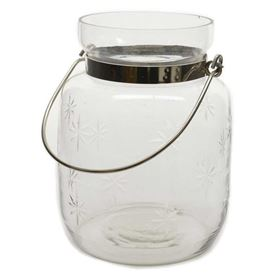 Hurricane Glass Jar with Stars and Handle