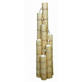 Large Bamboo Poles Oriental Solar Powered Water Feature