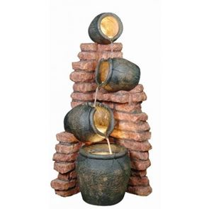 Aqua Creations Four Pots on Brick Wall Lit Water Feature