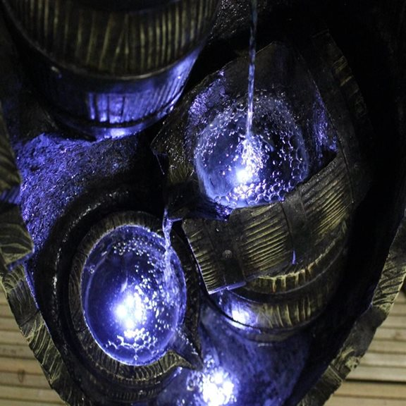 additional image for Medium Open Barrels Water Feature with LED Lights
