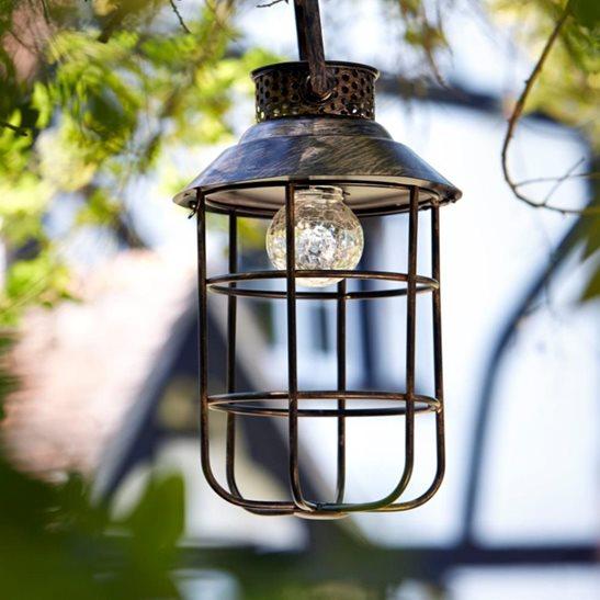 Zephyr Hanging Metal Solar Lantern Light Dual Power