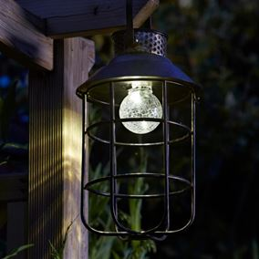 Zephyr Hanging Metal Solar Lantern Light Dual Power