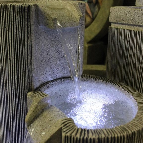 additional image for 3 Bowl Textured Granite Water Feature with LED Lights