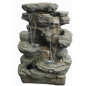 Rock Creek Slate Multi Fall Water Feature with LED Lights
