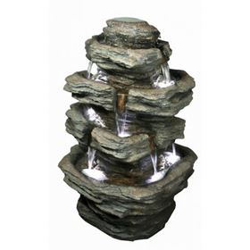 Multifall Slate (360 Degrees) Water Feature with LED Lights