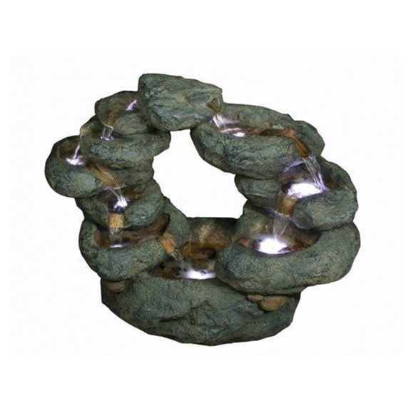 10 Fall Oval Rockfall Lit Water Feature
