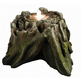 Tree Trunk Section Bubbling Water Feature with LED Lights