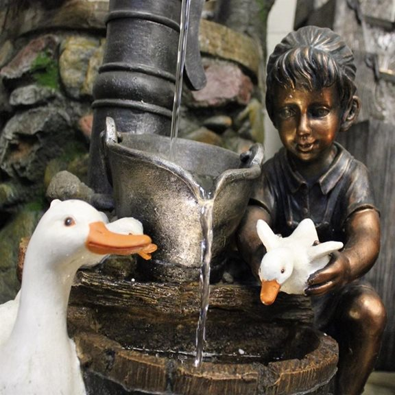 additional image for Girl With Ducks At Pump Water Feature (Solar Powered)
