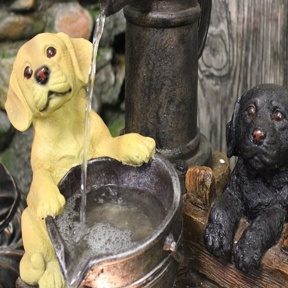 additional image for 3 Puppies at Pump Lit Water Feature with LED Lights