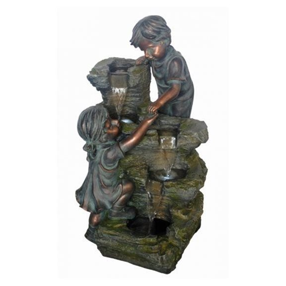 additional image for Boy & Girl at Rock Formation Lit Water Feature