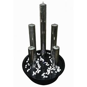 5 Stainless Steel Tubes Lit Water Feature with LED Lights