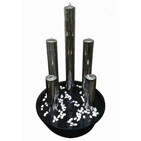 Foshan 5 Stainless Steel Tubes Lit Water Feature with LED Lights