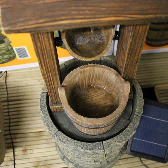 additional image for Solar Powered Wishing Well Water Feature with Battery Back Up