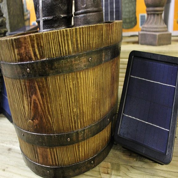 additional image for Solar Powered Barrel with Pump Water Feature with Battery Back Up