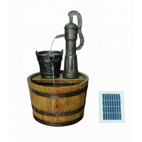 Solar Powered Barrel with Pump Water Feature with Battery Back Up